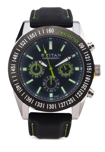 Titan esprit 包 9491KP02 多功能三指針皮革錶, 錶類, 其它錶帶