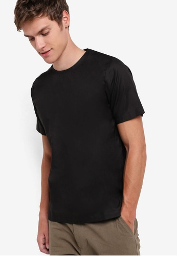 ZALORA black Woven Tee With Button 61569AA71A9FB0GS_1