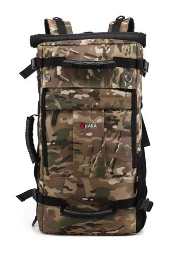 Kaka Men Travel Backpack Waterproof Duffle Bag With Combination Lock Camouflage
