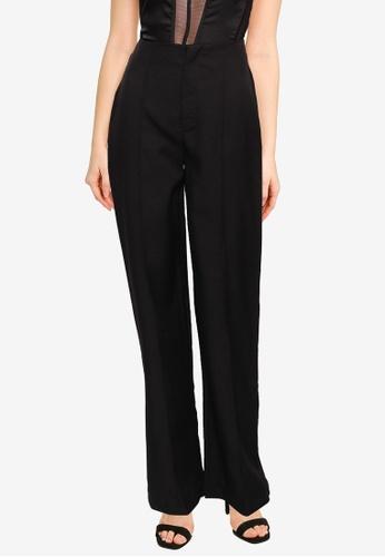 MISSGUIDED black Co Ord Seam Detail Straight Leg Trousers B3D76AAB0E8045GS_1