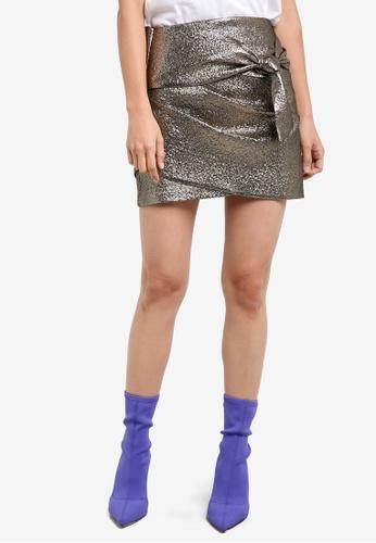 Mango gold knot metallic skirt MA193AA0S9MXMY_1