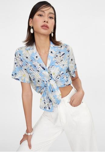 Pomelo blue Bold Daisy Print Button Up Shirt - Blue 59E09AA6CE5FF6GS_1