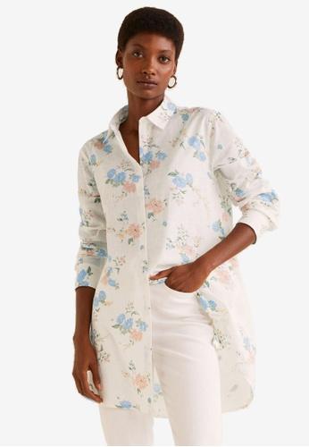 Mango white Flowers Printed Shirt 25970AAF6BBEFAGS_1