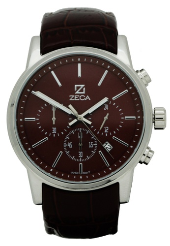 ZECA brown and silver Zeca Watches Men Fashion Leather Analog - 225M Brown Silver ZE260AC17SJQSG_1