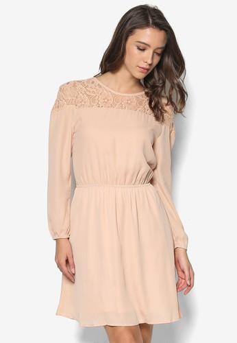 蕾絲拼肩長袖洋裝, 服飾, 洋zalora taiwan 時尚購物網鞋子裝