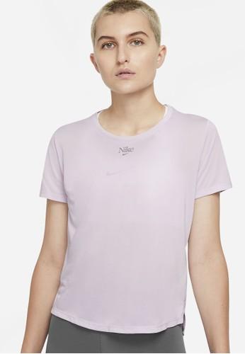 Nike purple As W Nk One Df Feme Ss Std Top 9850BAAAA4BF03GS_1