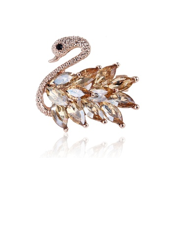 Glamorousky gold Fashion and Elegant Plated Gold Swan Brooch with Champagne Cubic Zirconia 7A5C2ACA8440C3GS_1