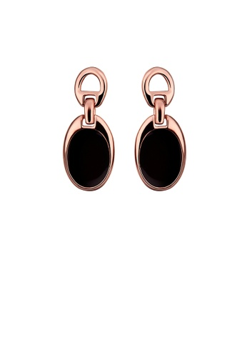 Glamorousky silver Simple and Fashion Plated Rose Gold Geometric Oval Earrings BCFD1AC38AC16FGS_1