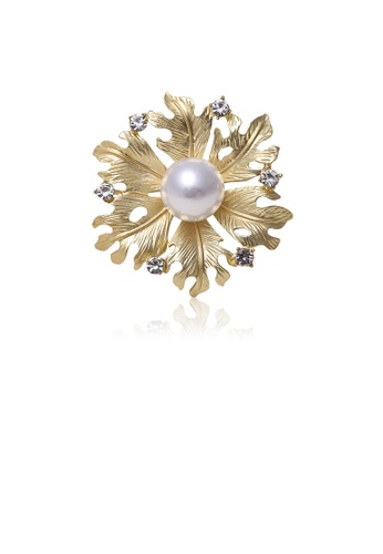 Glamorousky white Fashion and Elegant Plated Gold Flower Imitation Pearl Brooch with Cubic Zirconia 5C69BAC279AED3GS_1