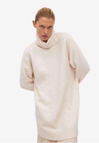 Mango beige Turtle Neck Knit Dress C82E2AAA887676GS_1
