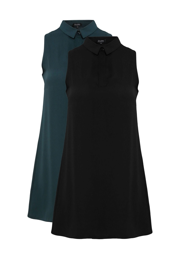 Dark 2 pack Dress Shirt ZALORA Sleeveless Green BASICS Black w0O6C