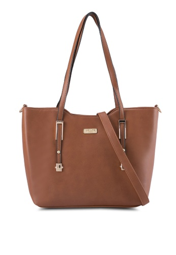 Unisa brown Faux Leather Convertible Tote Bag UN821AC0SRUXMY_1