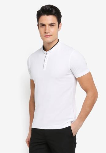 G2000 white Woven Stand Collar Polo Shirt F9057AA5A5B20CGS_1