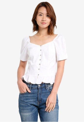 ZALORA white Bustier Top With Puffy Sleeves DA01DAABE6F293GS_1