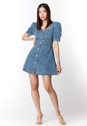 What To Wear blue Square Neck Puffy Sleeve Denim Dress in Blue BFBA6AA32689B9GS_1