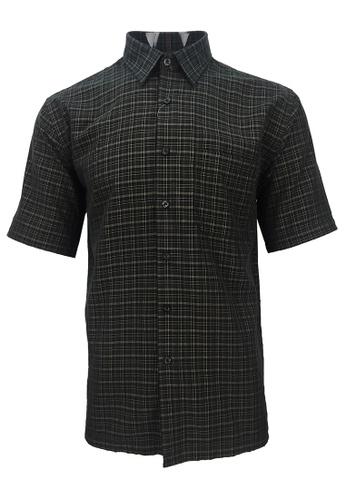 Pacolino black Pacolino - Korea Polynosic Wrinkle Free Checker Formal Casual Short Sleeve Men Shirt 162ABAA9F4A1C6GS_1