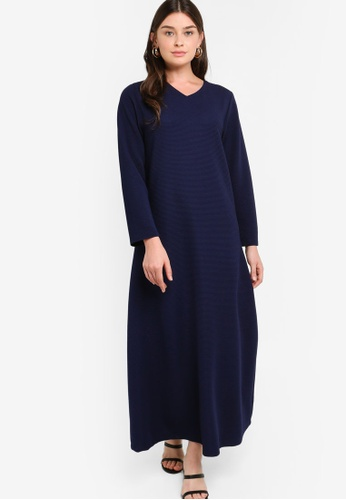 ZALIA BASICS 海軍藍色 Basic V-Neck Dress DEA89AA81C6540GS_1