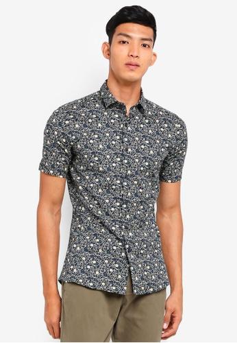 Topman navy Navy Leaf Print Short Sleeve Shirt BE1DEAAF37BDF1GS_1