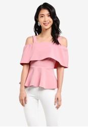 ZALORA pink Off Shoulder Peplum Top D8A88AA2CAC27CGS_1