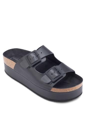Faesprit outlet hong kongng 雙扣環厚底拖鞋, 女鞋, 鞋