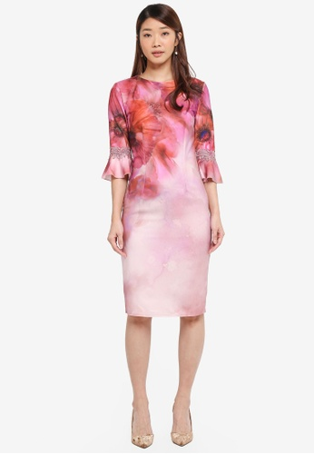 Little Mistress pink and multi Print Placement Dress D7562AACE5F3EAGS_1