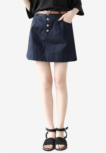 Tokichoi black Casual Button Fly Mini Skirt 5DE78AA75C2B92GS_1