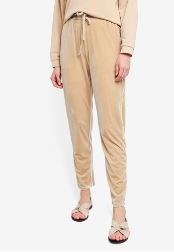 Zalia gold Velour Drawstring Pants A58D2AA8531945GS_1