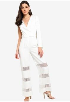 3567b25f433 Lavish Alice white Lace Insert Cape Jumpsuit 0AAD8AA4C391B2GS 1