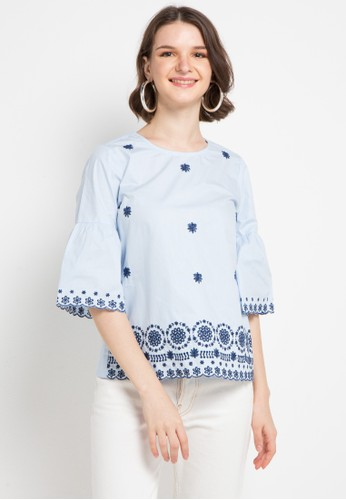 B.L.F blue Claude Embro Blouse 41F19AA3C60455GS_1