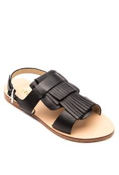 Wanda Leather Fringe Slingback Sandals