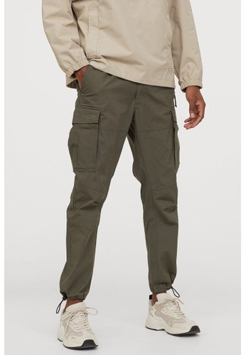 H&M green Cotton cargo trousers 92AD2AAEB35517GS_1