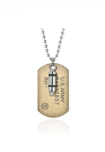 HAPPY FRIDAYS Bullet Pendant Army Necklace JW QF-DZ323 2433CACDC39473GS_1