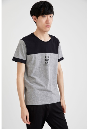 DeFacto grey Short Sleeve Round Neck Printed T-Shirt F146EAA6007C38GS_1