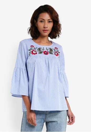 Dorothy Perkins blue Stripe Embroidered Yoke Top 6A0BCAA7856D3AGS_1
