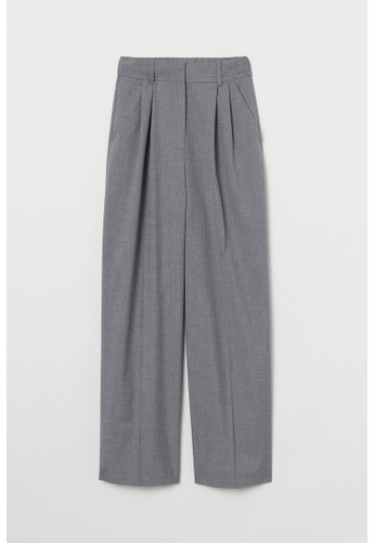 H&M grey Wide suit trousers 8B02EAABF792E2GS_1