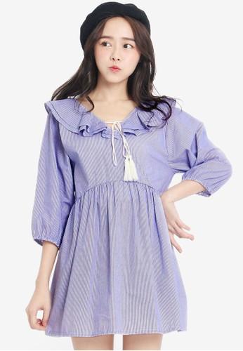 Tokichoi blue Babydoll Stripe Dress with Tassels A8693AAD926F35GS_1