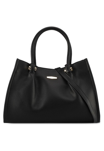 Perllini&Mel black Faux Leather Double Handle Bag Detachable Long Strap AD0F7AC74A083CGS_1