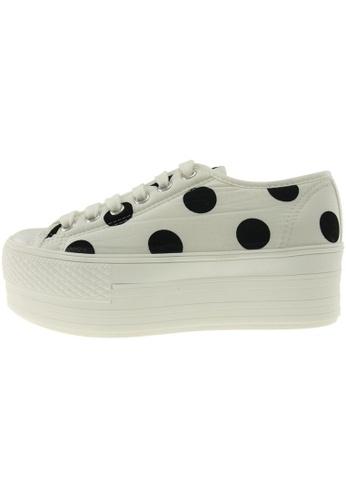 Maxstar 白色 新款韩国鞋C50-6H-Cotton-Dot時尚帆布布混合女白色 US Women Size MA345SH87GTSTW_1