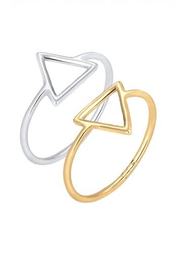 Elli Germany silver Perhiasan Wanita Perak Asli - Silver Cincin Set Triangle Tri-Color Gold Plated 351E5ACCEE3D19GS_1