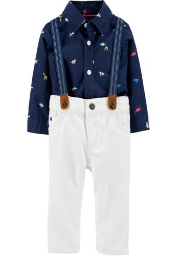 Carter's navy CARTER'S Boy Navy Herringbone Bodysuit & Cargo Suspender Pants EE9B9KAA170701GS_1