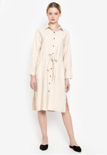 Susto The Label beige Vicky Buttondown Dress 908A8AA96F6B9CGS_1