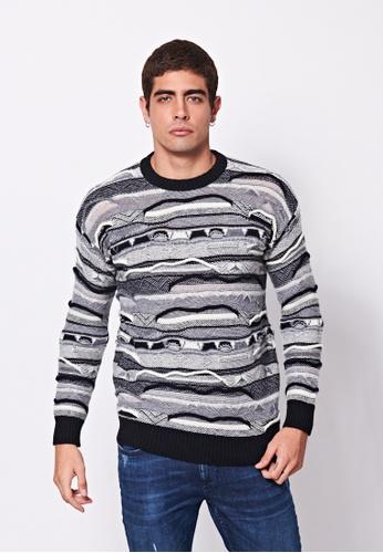Sisley multi Printed Knit Sweater DAC65AA611B154GS_1