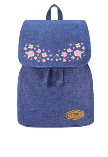 Ripples blue Sweet Garden Floral Embroidery Denim Ladies Backpack 33E02AC135AEA0GS_1