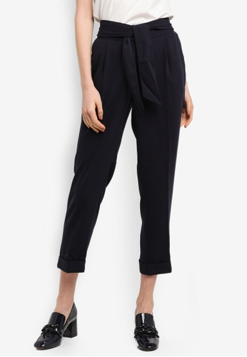 Dorothy Perkins navy Navy Tie Tapered Trousers DE5F8AA8428A0CGS_1
