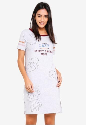 6IXTY8IGHT grey 'Energy Saving Mode' Night Dress E0EF6AA6F26EB8GS_1