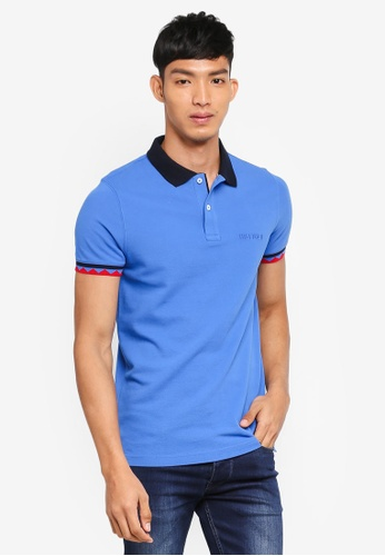 Tommy Hilfiger blue AZTEK TIPPING SLIM POLO 112C2AA753318AGS_1