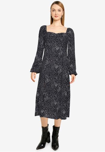 MISSGUIDED black Polka Milkmaid Midi Dress 649ABAA14C5BC6GS_1