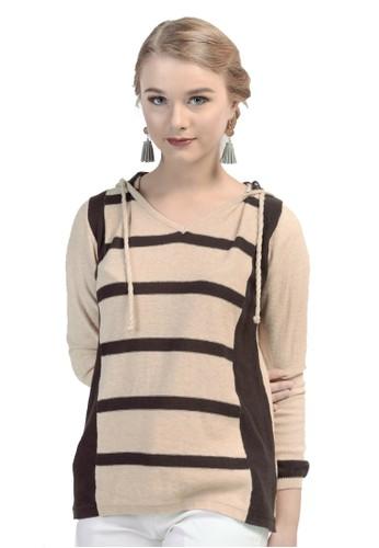Knitwork beige and brown Knitwork Beige Melange Hoodie Sweater KN788AA69LKGID_1