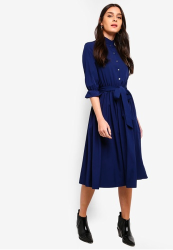ZALORA navy Pleated Neck Button Down Dress 6495AAAD10A75FGS_1