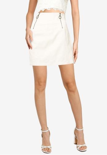 Heather white Plain Mini Skirt AAC59AA3AE5A63GS_1